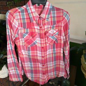 Pink & Blue Flannel Button Down